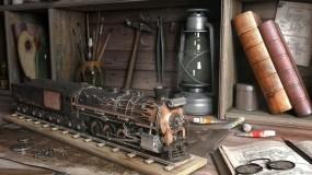Обои Модель паровоза: Модель, Паровоз, 3D Графика