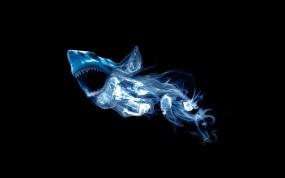 Обои Абстракция акулы: Абстракция, Дым, Минимализм, Акула, 3D Графика