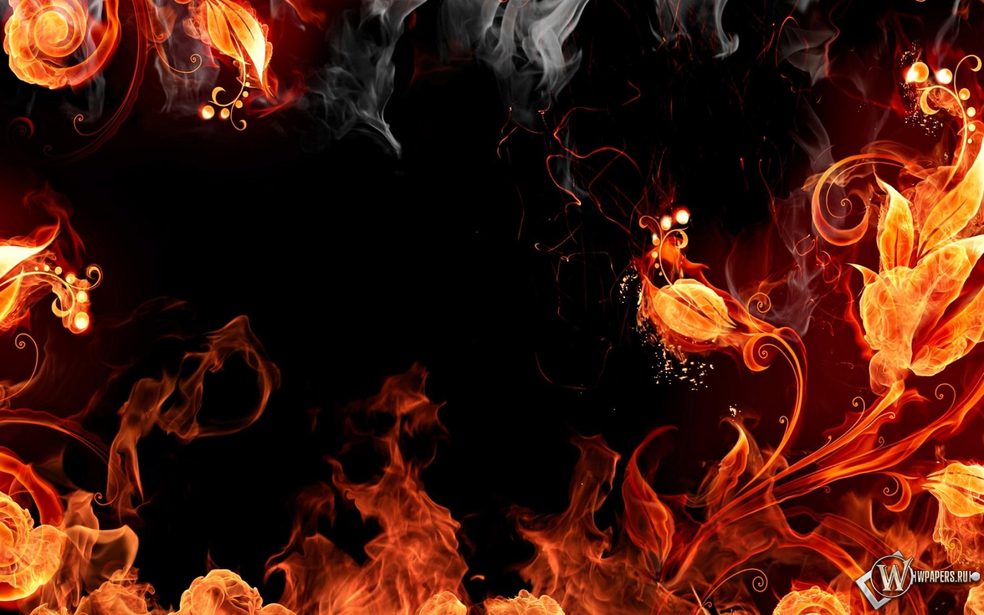 Обои огненые цветы абстракция огонь