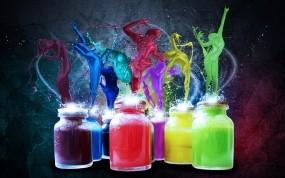 Обои Радужные краски: Силуэт, Краска, Банка, Абстракции