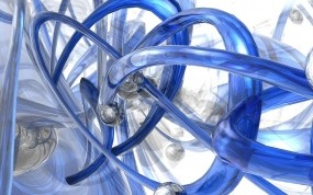 Обои Синее искривление: Абстракция, Синий, Фон, Абстракции