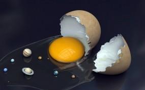Обои Солнечная система в яйце: Космос, Планеты, Яйца, Абстракции