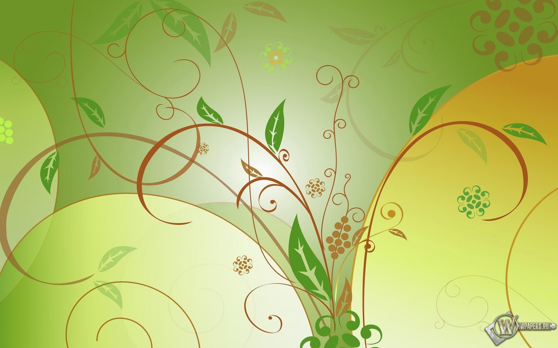 Зелёные листья 1920x1200