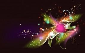 Обои Радужный цветок: Цветок, Сияние, Цвет, Узор, Абстракции