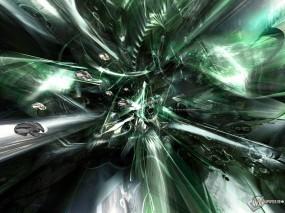 Обои 3D Абстракция: Абстракция, Зелёный, Искажение, Абстракции