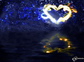 Обои 3D Огненное сердце: Отражение, Огонь, Сердце, Абстракции