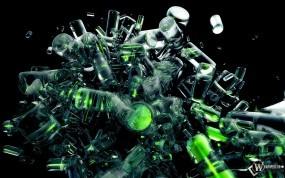 Обои Зеленые цилиндры: Цилиндры, Стекло, Абстракция, Абстракции