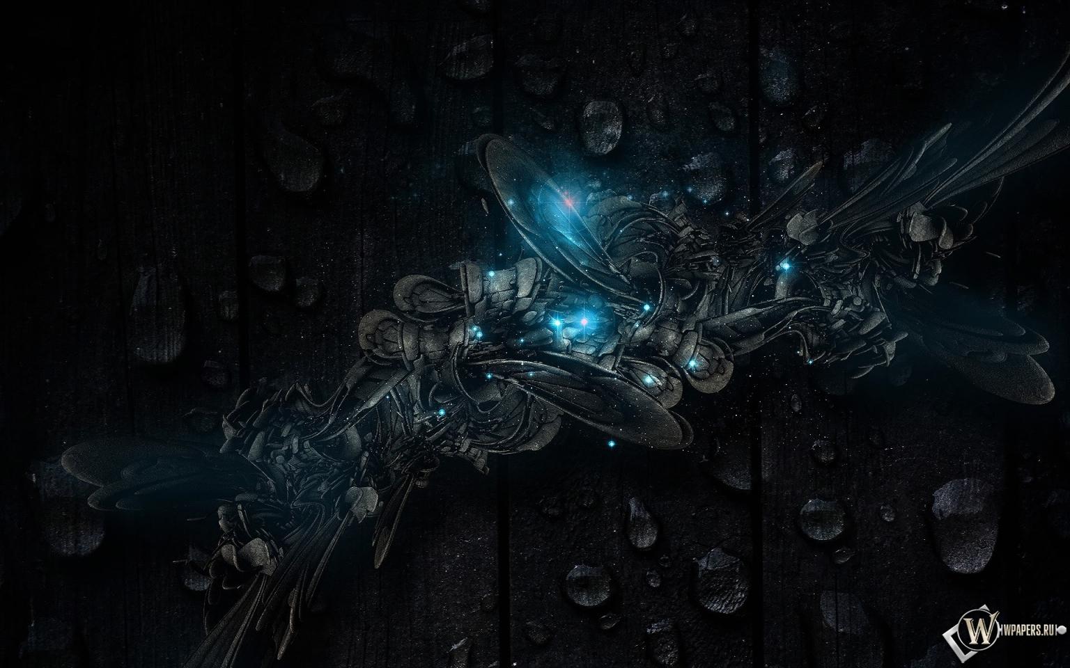 Обои темная абстракция капли синий