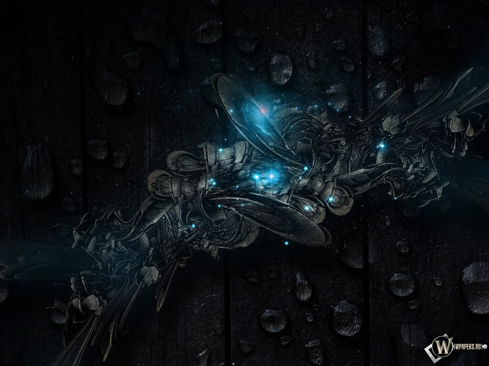 Абстракция капли синий темный фон