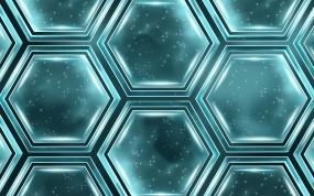 Обои Абстракция шестигранников: Шестигранник, Бирюзовый, Абстракции