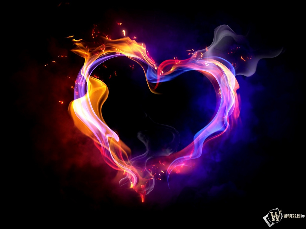 Обои heart abstract абстракция огонь