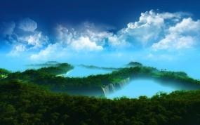 Обои Острова в облаках: Облака, Небо, Острова, Рендеринг