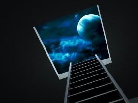 Обои Лестница в небо: Ночь, Планета, Небо, Лестница, Рендеринг