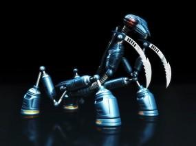 Обои Робот-богомол: Робот, Чёрное, Богомол, Рендеринг