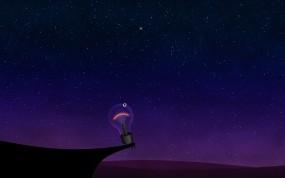 Обои Одинокая лампочка: Ночь, Звёзды, Небо, Лампочка, Рендеринг