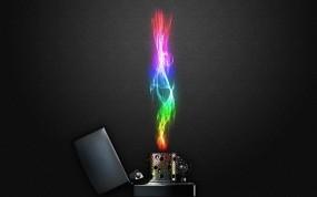 Обои Зажигалка с радужным пламенем: Огонь, Зажигалка, Цвет, Рендеринг