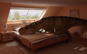 Обои Динозавр отдыхает: Спальня, Кровать, Динозавр, Рендеринг