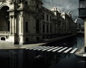 Обои 3d асфальт: Вода, Город, Крокодил, Рендеринг