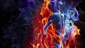Обои Лёд и пламя: Лёд, Пламя, Объятия, Рендеринг