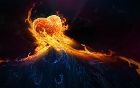 Обои Сердце в огне: Огонь, Сердце, Рука, Рендеринг