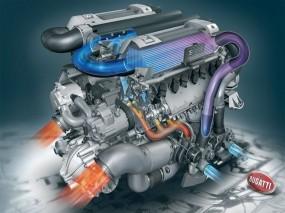 Обои Мотор от Bugatti Veyron: Движок, Бугатти, Рендеринг