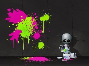 Обои Robot Artist: Стена, Художник, Граффити, Краска, Рендеринг
