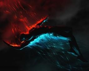 Обои Огонь и вода: Человек, Синий, Красный, Рендеринг