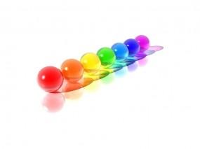 Обои Разноцветные шарики: Минимализм, Шарики, Радуга, Рендеринг