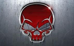 Обои Красный череп: Металл, Красный, Череп, Рендеринг