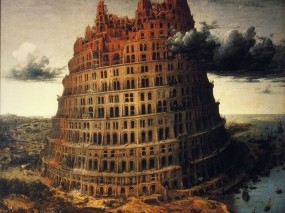 Обои Вавилонская башня: Облака, Тучи, Башня, Рендеринг
