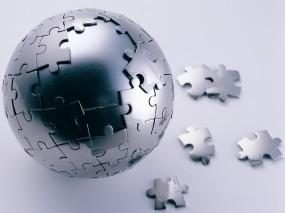 Обои Стальная мозаика: Сталь, Пазл, Сфера, Рендеринг
