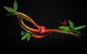 Обои Бабочки на дереве: Ветка, Бабочки, Листья, Рендеринг
