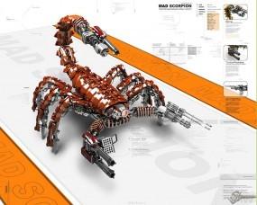 Обои 3D скорпион: Оружие, Скорпион, Пулеметы, Рендеринг