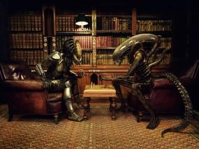Обои Чужой против Хищника: Книги, Шахматы, Чужой против Хищника, Партия, Кабинет, Юмор, Alien vs. Predator, Рендеринг