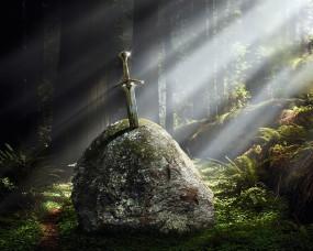 Обои Меч в камне: Свет, Меч, Экскалибур, Рендеринг
