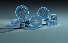 Обои Ледяные лампочки: Лёд, Лампочки, Рендеринг