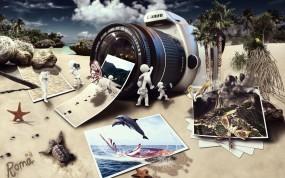 Обои Зеркалка и фотки: Фотик, Человечки, Коллаж, Зеркалка, Canon, Рендеринг