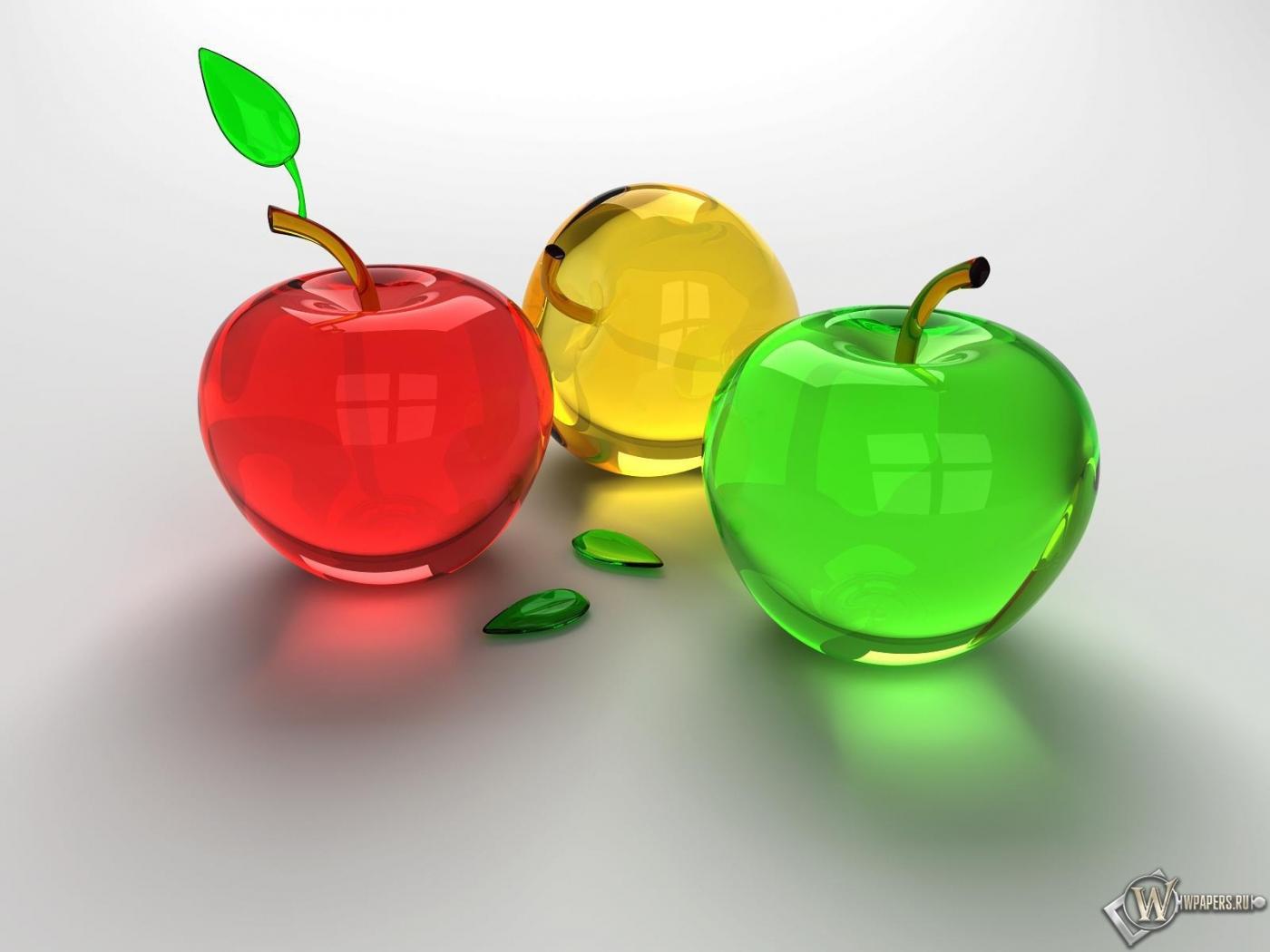 Обои яблочки стекло 3d графика