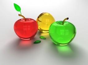 Обои Яблочки: Стекло, 3D графика, Яблоки, Рендеринг