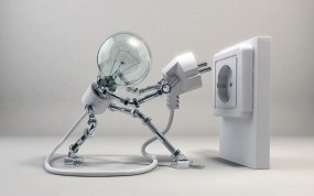 Обои Включайся!: Белый, Робот, Лампочка, Рендеринг