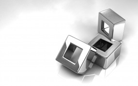 Обои Титан: Металл, Кубики, Серый, Железо, Титан, Рендеринг