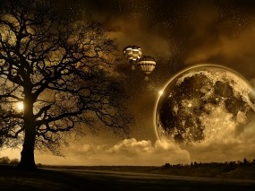 Обои Магическая луна: Ночь, Луна, Небо, Шарики, Рендеринг