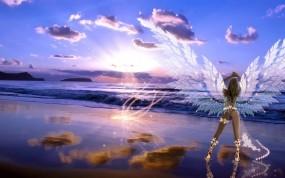 Обои Девушка с крыльями на закате: Девушка, Закат, Крылья, Рендеринг