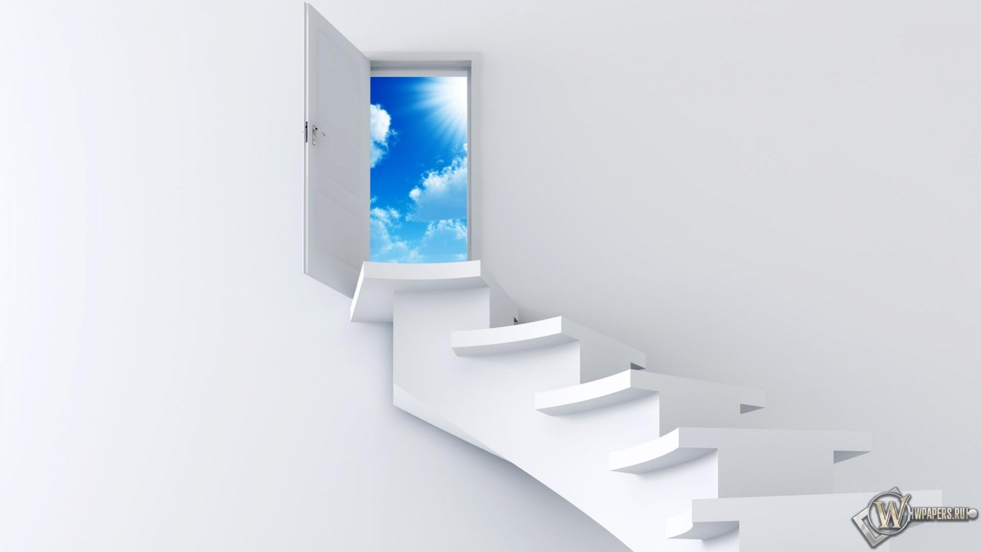 Обои лестница в небо небо минимализм