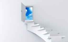 Обои Лестница в небо: Небо, Минимализм, Лестница, Рендеринг