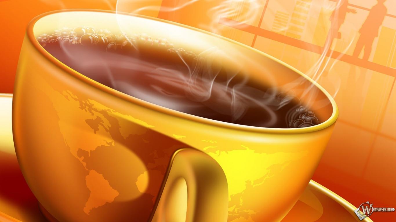 Обои чашка горячего кофе кофе утро