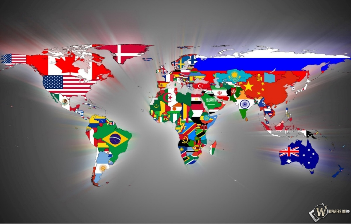 Карта мира континенты флаги страны