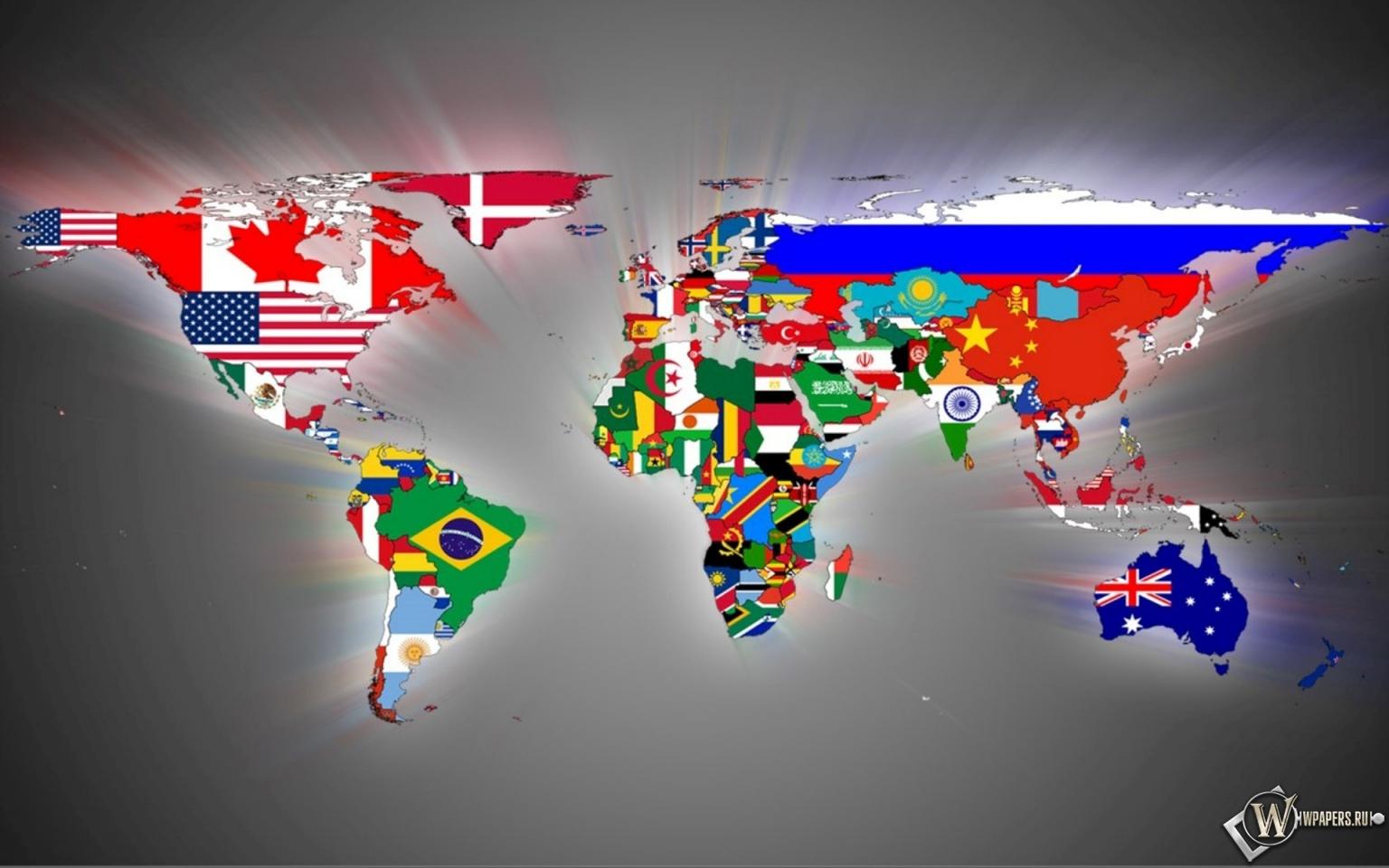Обои карта мира континенты флаги