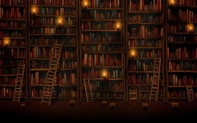 Обои Книжные полки: Книги, Библиотека, Рисунок, Разное