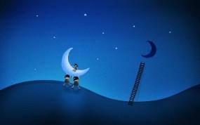 Обои De La Luna: Луна, Рисунок, Небо, Лестница, Разное